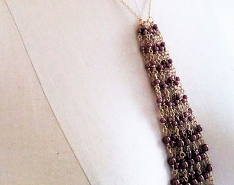 Gold and Bronze Tassel Necklace