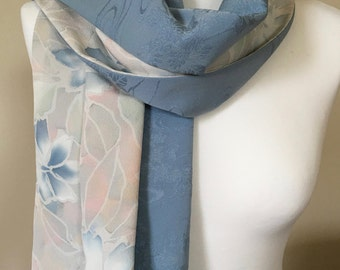Silk scarf/wrap. Blue and ivory scarf made from vintage kimono silk.