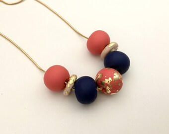 Coral, Navy and Gold Leaf Polymer Clay Necklace