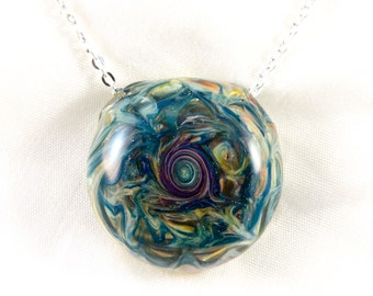 Teal and Purple Sparkle Hollow Glass Pendant Necklace