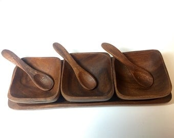 Vintage Monkey Pod Wood Condiment Set