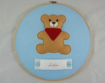 Bear Hospital Door Hanger, embroidery wall hanging, Boy Nursery Decoration, Baby Room Decor, Boy Name Hospital Door Hanger, Personalized