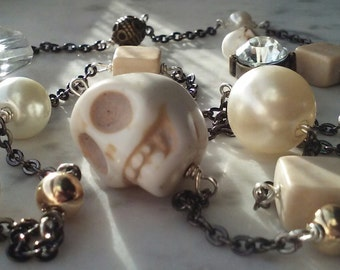 Howlite Skulls and Riverstone Necklace