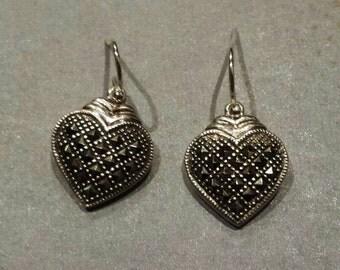 Sterling Silver .925 Marcasite Heart Earrings