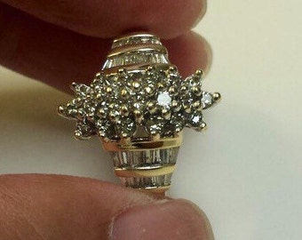 14K Yellow Gold Cluster Diamond Ring, Size 9.5