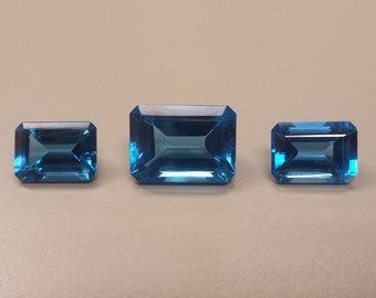 Three Large Loose Grade AAA Gem Quality Emerald-Cut Blue Topaz 40.5 Carats Total Weight