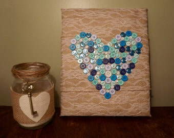 Burlap and button heart on canvas, button, heart, valentine's day, gift, present, for her, wall decor, decor, room decor, nursery decor