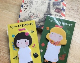 FREE SHIPPING USA***Girl Memo It /Cartoon Girl Sticky Notes/ Korean Stationery /Paper Post It /Sticky Notes /Memo Pad