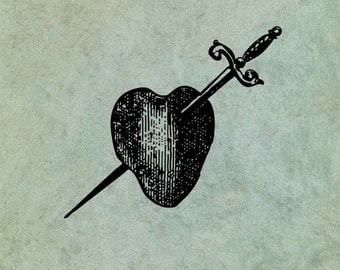Heart Pierced by Sword Dagger LARGE - Antique Style Clear Stamp