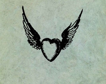 Winged Flying Heart LARGE - Antique Style Clear Stamp