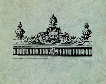 Neoclassical Greek Gargoyle Header Border - Antique Style Clear Stamp
