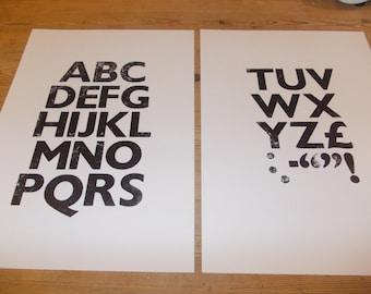 Letter Pressed ABC prints, set of 2