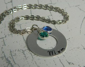 Hand Stamped Mom necklace with birthstone charms