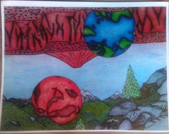 Earth 'n Mars day art print