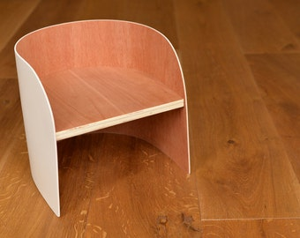 Kids wooden curved chair