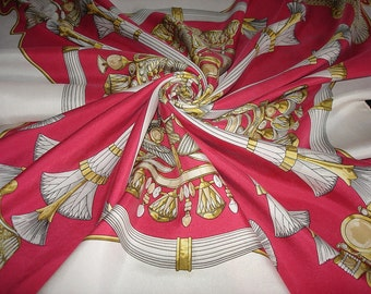 "HERMES ""Egypt"" rose / pink Silk Scarf Hermes Collection"