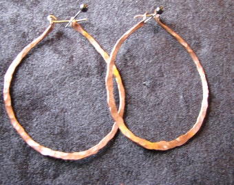 Copper Hoops Large round hammered earrings
