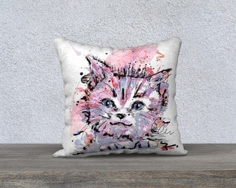 Cat print cushion cover / 18 x 18 throw pillow cover / Printed art cushion / Pink / Purple / Black / Cat illustration / Made in Quebec