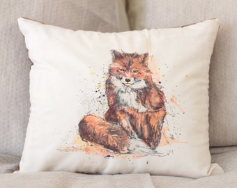 Fox Cushion Cover / 14 x 14 in. / Recycled Fabric / Made in Québec / Unique / Indoor Design / Art, Illustration