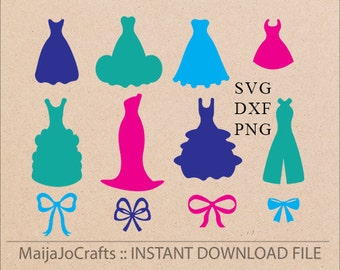 Dresses and Bows SVG file DXF, PNG clipart, Cutting Machine Files Silhouette Cameo Cricut designs Svg Cutting Template Digital File Vector