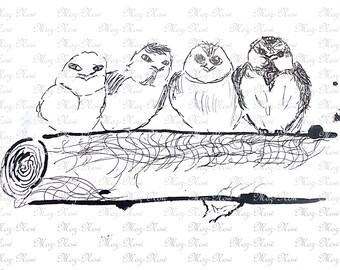 Printable owls Digital Image Instant Download