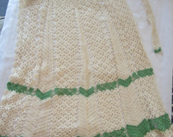 Vintage Cotton Thread Crochet Apron - never used!