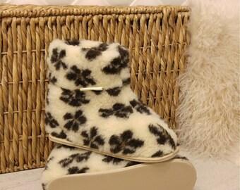 100% Sheep Wool Boots Cozy Foot Slippers Hard Sole Sheepskin Women's