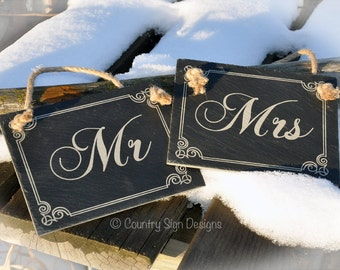 Mr. and Mrs. Wedding Chair Signs - Natural Slate - Engraved - Rustic Wedding