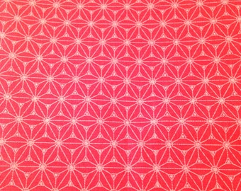 50x75 cm- Japanese fabric pattern Asanoha Stars Pink Coral 100% cotton