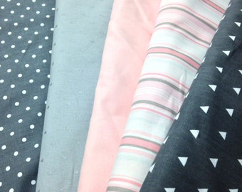 Charcoals Grays and Pinks Collection Crib Bedding and Nursery Fabrics