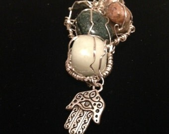 Silver-Wrapped Crystal and Hamsa Pendant