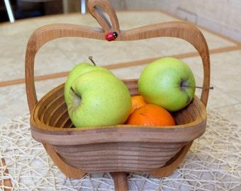 Wooden Transformer Basket, Folding Fruit Basket, Kitchen Stand, Kitchen  Holder, Wooden Bowl