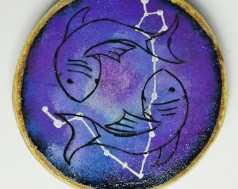 Pisces constellation decorative painted wood slice