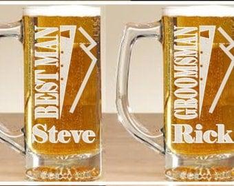 Set of 4 - 28 oz Sandblasted Etched Personalized Beer Mug/Groomsman Gift/Wedding