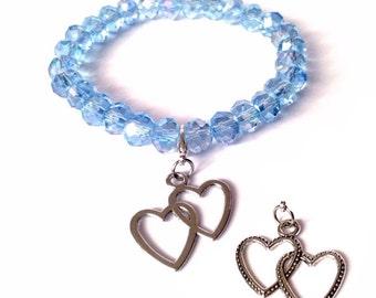 Sky Crystal Blue & Two Hearted Charm Bracelet