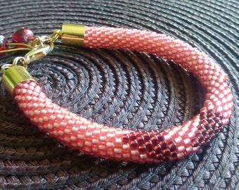 Red Toho Beaded Bracelet With 3 Hearts Bead Crochet