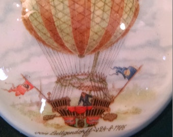 Vintage Paperweight, paper weight, hot air balloon, Von Luttgendorff, 1786, balloon, balloon ride, collectable,  desk accessory, balloons