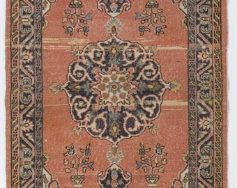 4x7.2 Ft  Vintage Turkish scatter Rug. Decorative old handmade carpet made of wool and cotton. Y70