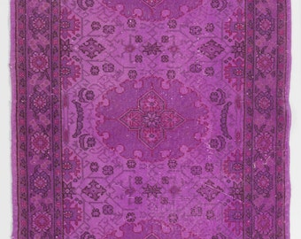 4x7 Ft Purple color OverDyed Vintage Turkish Rug. Ideal for both residential and commercial interiors. Wool & Cotton blend.  Y474