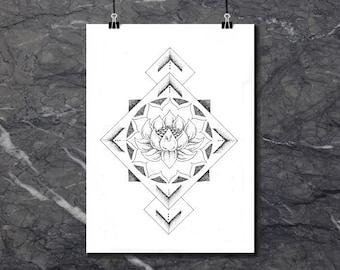Geometric Lotus - Art Print of original artwork
