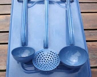 Blue Enamel French - Utensil Rack & Three Utensils