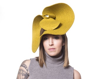Abstract Chartreuse Felt Hat