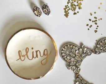 BLING // Polymer Clay Jewelry Dish, Ring Dish, Trinket Dish