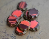 Coral Burgandy Czech Glass Beads / Rustic 14mm Picasso Coin Bead / Jewelry Findings