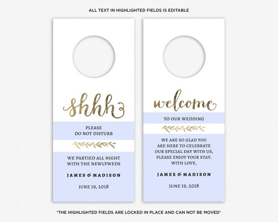 Wedding Door Hanger Template Do Not Disturb Printable