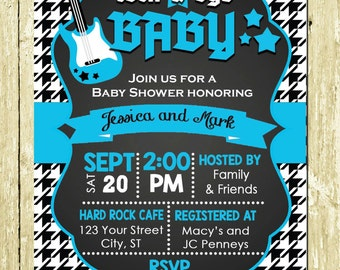 Rock a Bye Baby Boy Rock star Houndstooth Chalkboard Printed Baby Shower Invitations