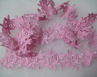 Venise lace, Rose duo design edging motif hand dyed in a girly pink for hair bands, clothes