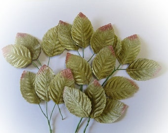 Velvet Leaves sage green 24 leaves for millenery costume supplies, bouquets, wreaths, bouttoniere