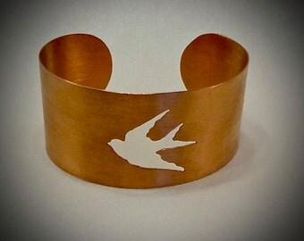 "Wide copper cuff - Swallow bracelet -  Satin finish - 1 3/4"" by 6"" around"