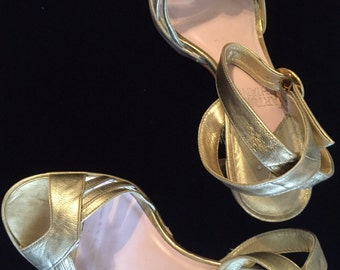 Vintage Gold Leather ankle strap 1950's shoes